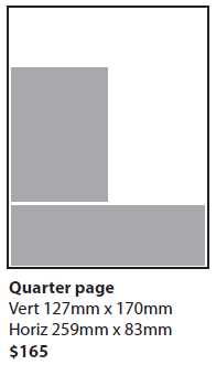 Waiheke Weekender Advertising, Quarter Page