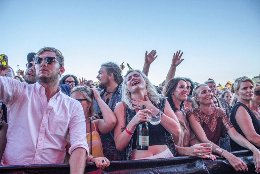 The crowd enjoying Fat Freddy's Drop under clear Waiheke skies. Photo Jake Legge