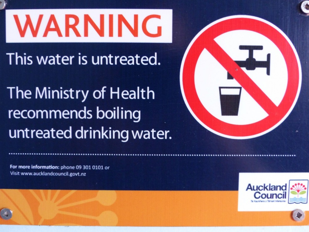 Signs currently warn people that untreated water might not be safe to drink at almost all Auckland Council public buildings on Waiheke.