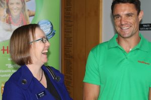 Rugby hero Dan Carter with competition winner Jane Scarles.