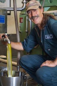 Darryl Beech of Rangihoua Estate extracts liquid gold extra virgin olive oil from this season's bumper harvest.