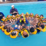 Swimming lessons over 2018, WPS Ti Kouka classroom with instructors Rawinia Salmon, Fiona Grigg and Chase Gelston in middle, sup