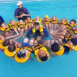 Swimming lessons over 2018, WPS Ti Kouka classroom with instructors Rawinia Salmon, Fiona Grigg and Chase Gelston in middle, sup web