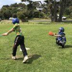 SPO Softball. Batsman Sonny Te Rore strikes the ball with catcher Mack Gordon behind. Photo Kim Gordon
