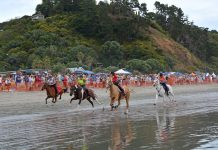 Onetangi Beach Races 2019Galloping horses and riders make a great spectacle.