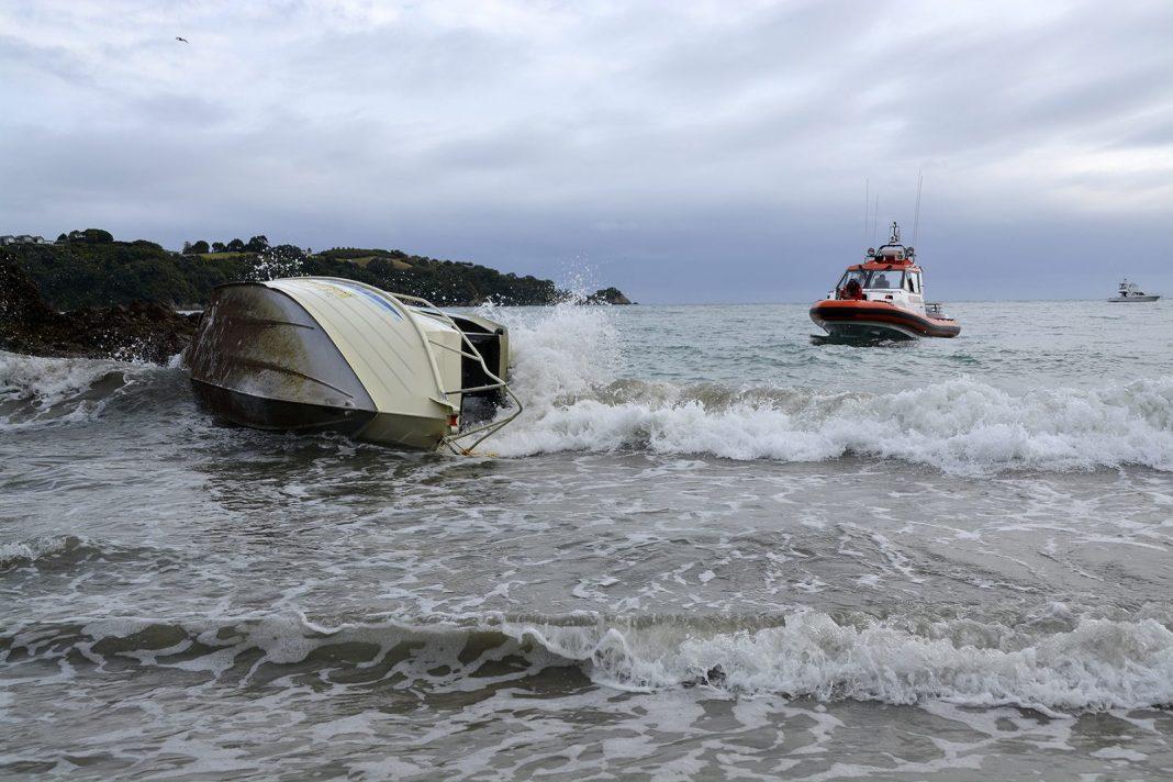 Boat washed up on Little Oneroa
