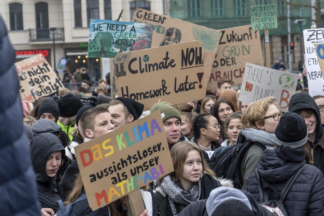 German students strike for climate action in Germany as part of the global initiative