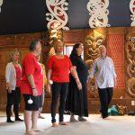 Hakari Marae 05Jan Newton and the Kapa Haka ropu perform at the hakari on Sunday to finish there course