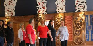 Hakari Marae 05Jan Newton and the Kapa Haka ropu perform at the hakari on Sunday to finish there course