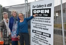 Waiheke Community Art Gallery staff, Linda Chalmers, Lynda Johnson and Kim Wesney