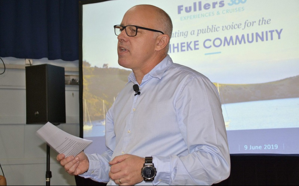 Mike Horne CEO of Fullers addressing the Public Meeting