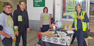 Extinction Rebellion group highlighting climate change