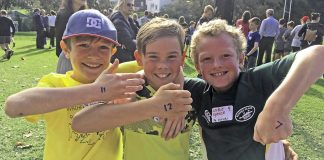 Tai Rippingale, Felix Lindesay and Lockie Spence show their placings in the nine-year-old boys event.
