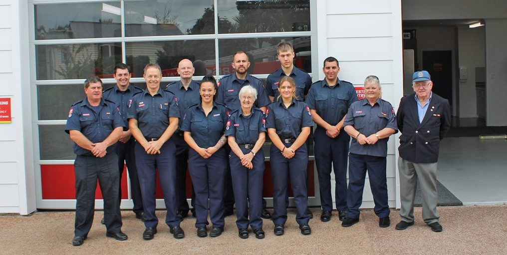 Firefighters outside the reopened Oneroa Fire Station