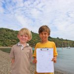 N PUSH FREE FERRY FARES FOR CHILDREM PETITION MH Leo Swann from Waiheke Primary and Hugo Holden from Fossil Bay School with their signatures collected so far MH 2