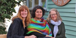 Waiheke Budgeting Services' Amelia Lawley with Coni Medel and Claire Stainton from Citizens' Advice Bureau. Photo Liza Hamilton