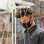 N Masks Kobi Aggrey-Teehan making SmartKnit masks at Waiheke Cashmere Company credit Emma Marriott